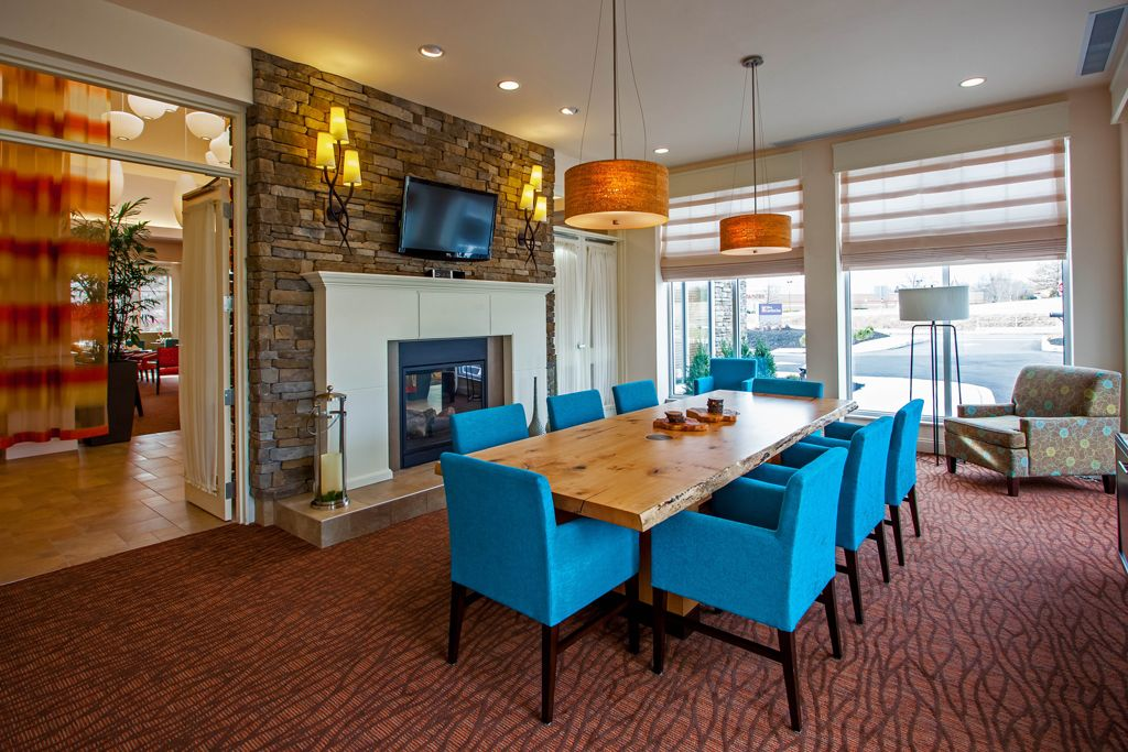 Hilton Garden Inn - Oaks, PA Lobby Board Room, Fire place, natural wood table