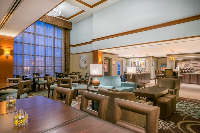 Staybridge Suites, Glen Mills, PA -Lobby - Chocolate Scheme Renovation two story lodge